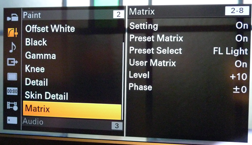 Sony Z100 matrix menu -thefilmbook