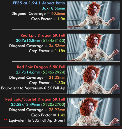 Red Dragon camera dimensions and crop factor -thefilmbook