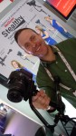 Thomas Smith from Varizoom holds the Stealthy camera support system