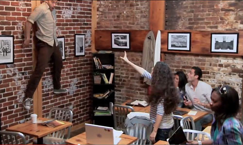 telekinetic special effect in NYC coffee shop -thefilmbook-
