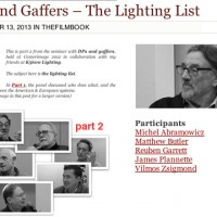DPs and Gaffers - The Lighting List