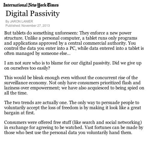 Digital Passivity by Jaron Lanier