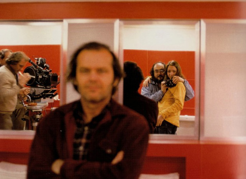 Kubrick self-portrait with daughter Vivian and camera on set of The Shining
