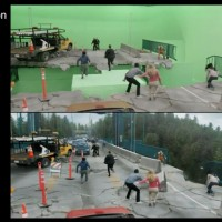 VFX split screen for bridge disaster